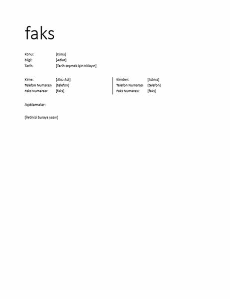Faks kapak sayfası (Resmi olmayan)