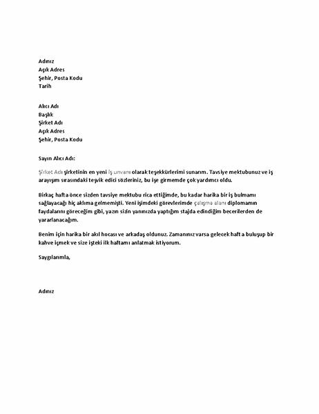 Başarılı iş referansı için eski işverene teşekkür mektubu