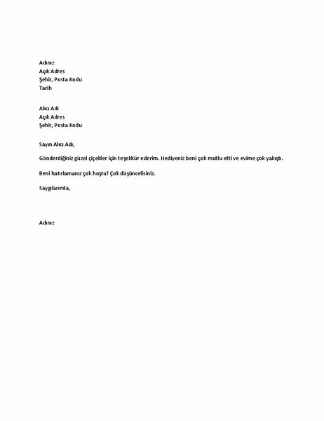 Kişisel hediye için teşekkür mektubu