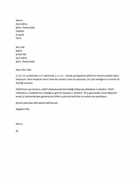 İş teklifi kabul mektubu