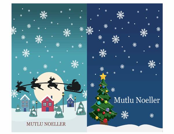 Noel not kartları (Noel Ruhu tasarımlı, sayfa başına 2 adet, Avery 3268 için)