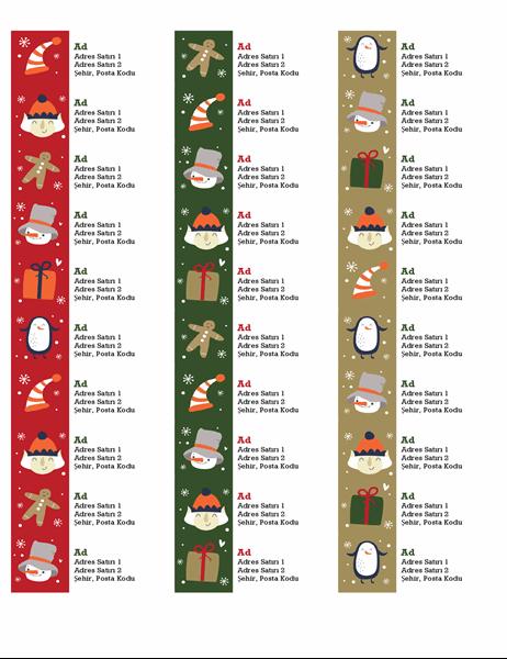 Adres etiketleri (Noel Ruhu tasarımlı, sayfa başına 30 adet, Avery 5160 ile uyumlu)
