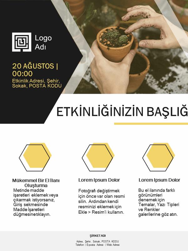 Küçük işletme el ilanı (altın sarısı tasarım)