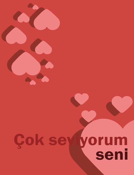 Seni Seviyorum kartı (dörde katlı)