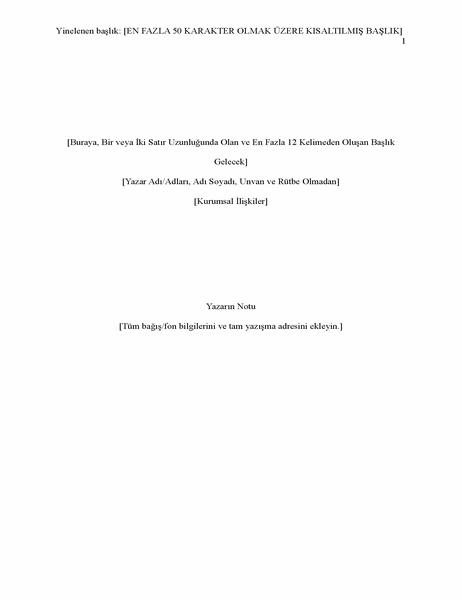 APA stilinde rapor (6. sürüm)