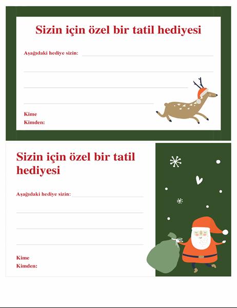 Noel hediye sertifikası (Noel Ruhu tasarımlı)