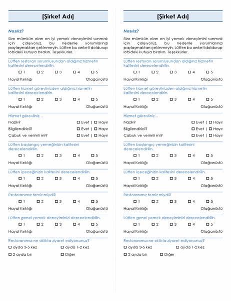 Restoran anketi (her sayfada 2 anket)