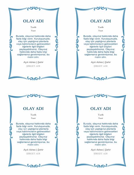 Etkinlik davetiyeleri (sayfa başına 4 adet)