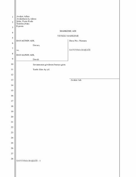 Yasal savunma belgesi (28 satır)