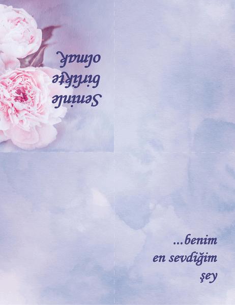 Romantik kart (güllü, dörde katlı)