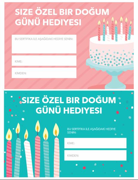 Doğum günü hediye sertifikası (Parlak tasarım)