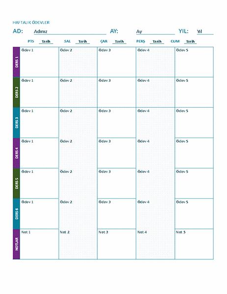 Haftalık ödev çizelgesi (renkli)