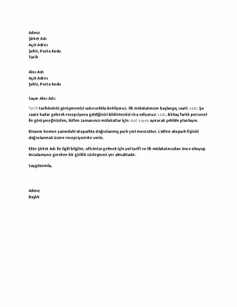Adayın iş mülakatı teyit mektubu