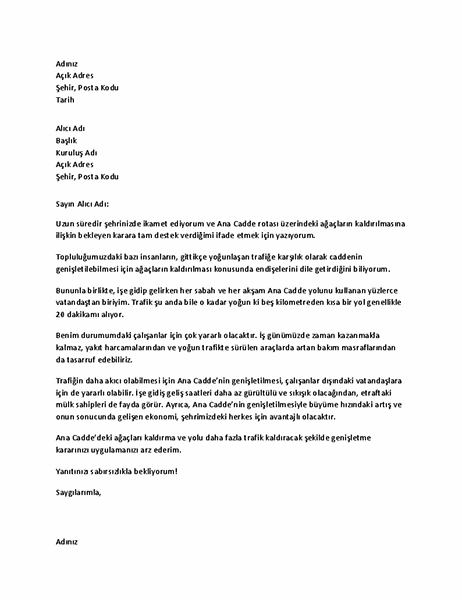 Yerel yetkiliye destek mektubu