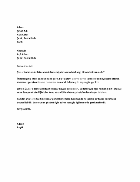 Vadesi geçmiş bir ödemeyi talep eden mektup