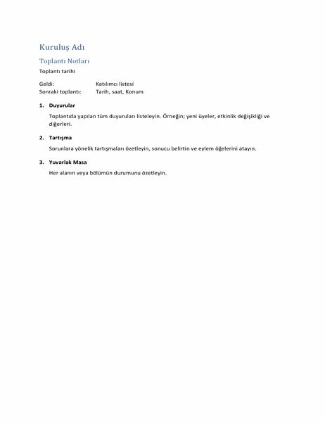Toplantı Notları (kısa biçim)