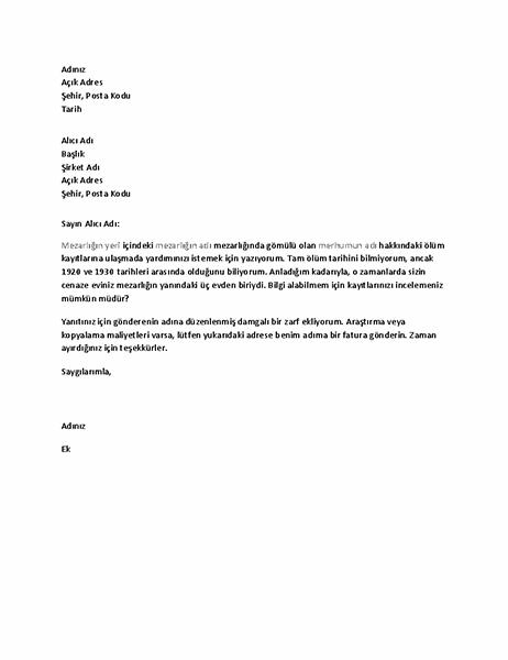 Cenaze evinden soy ağacı kayıtlarını talep etme mektubu