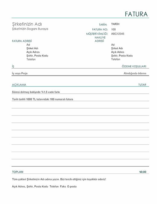 Vade farkı içeren fatura (basit)