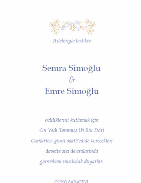 Düğün davetiyesi (Geleneksel)