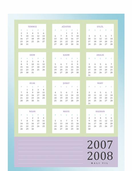 2007-2008 mali yıl takvimi (Pzt-Cum)