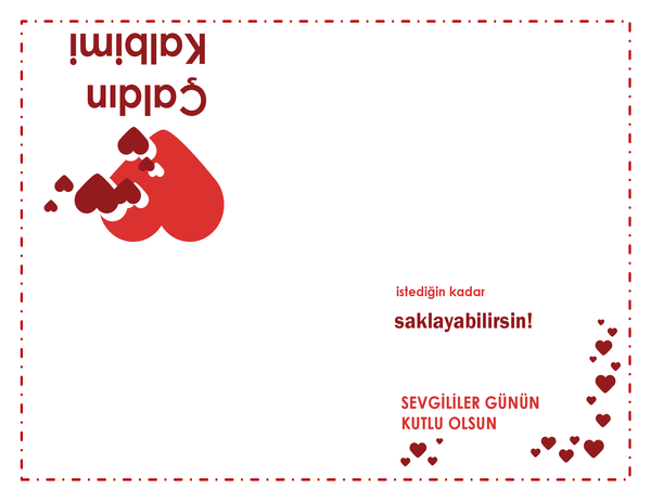 Sevgililer Günü kartı (kalp tasarımı, dörde katlı)