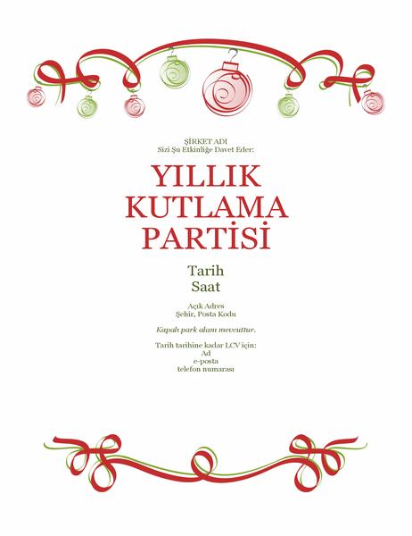 Süslemeli ve kırmızı kurdeleli tatil partisi daveti (Resmi tasarım)