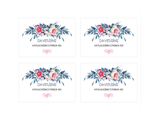 Parti davetiyesi (çiçekli tasarım)