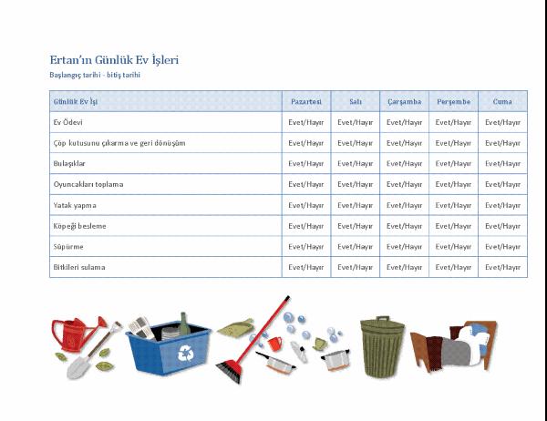 Çocuğun günlük ev işlerinin denetleme listesi