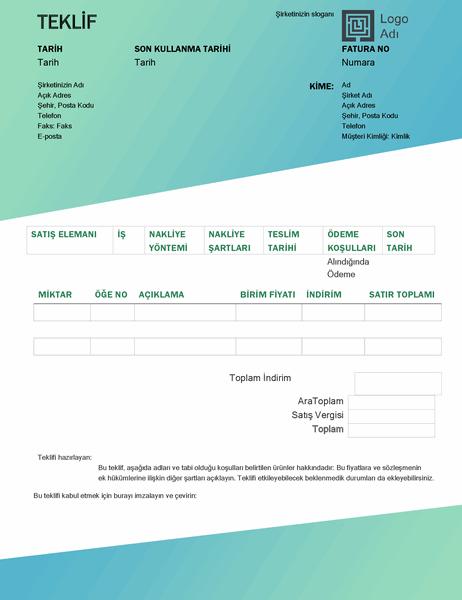 Satış teklifi (Yeşil gradyan tasarım)