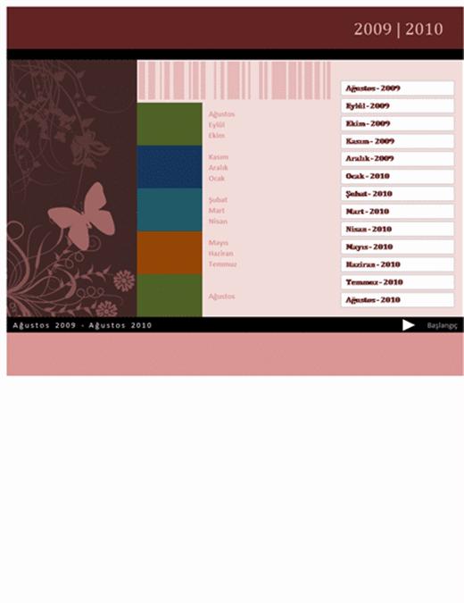 2009-2010 Akademik veya mali yıl takvimi (Ağu-Ağu, Pts-Paz)
