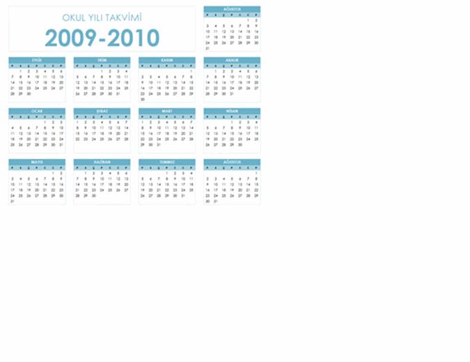 2009-2010 akademik takvimi (1 sayfa, yatay, Pts-Paz)