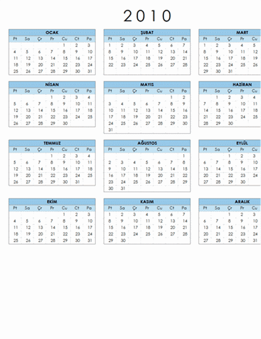 2010 takvimi (1 sayfa, yatay, Pzt-Paz)