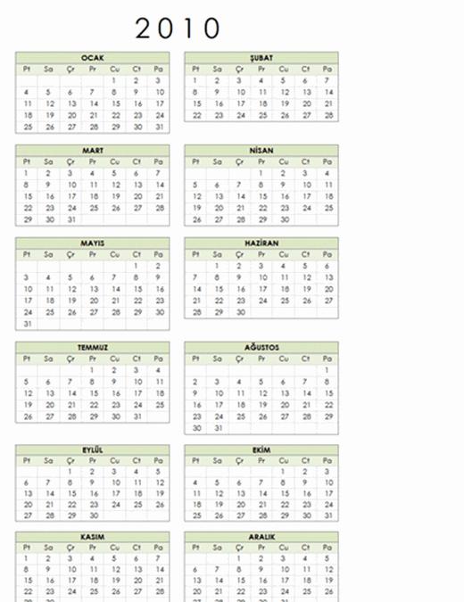 2010 takvimi (1 sayfa, dikey, Pzt-Paz)