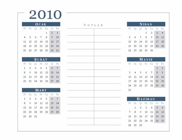 2010 takvimi (6 ay/sayfa, Pzt-Paz)