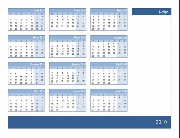 Not alanı olan 2010 takvimi (1 sayfa)