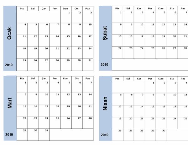 Mavi kenarlıklı 2010 takvimi (3 sayfa)