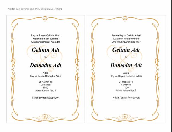 Düğün davetleri (Kalp Motifli tasarım, A7 boyutu, sayfa başına 2)
