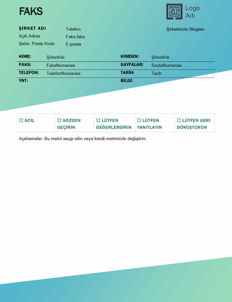 Faks kapak sayfası (Yeşil Gradyan tasarım)