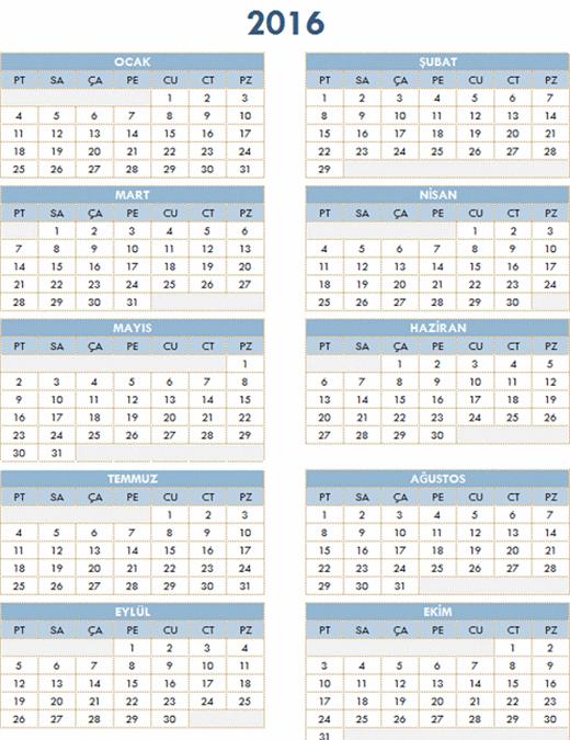 2016-2025 yıllık takvimi