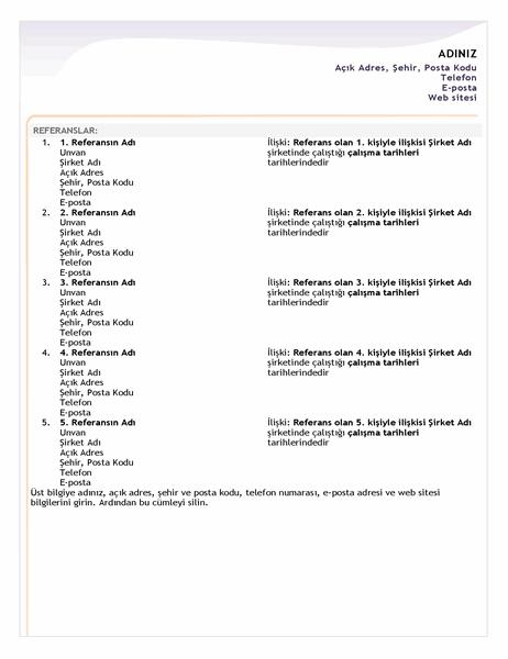 Giriş düzeyi özgeçmiş referans sayfası