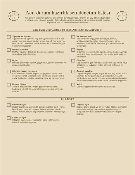 Acil durum hazırlık seti denetim listesi