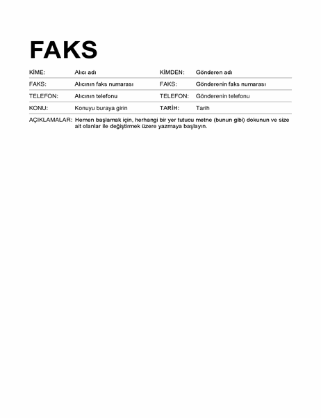Faks kapak sayfası (standart biçim)