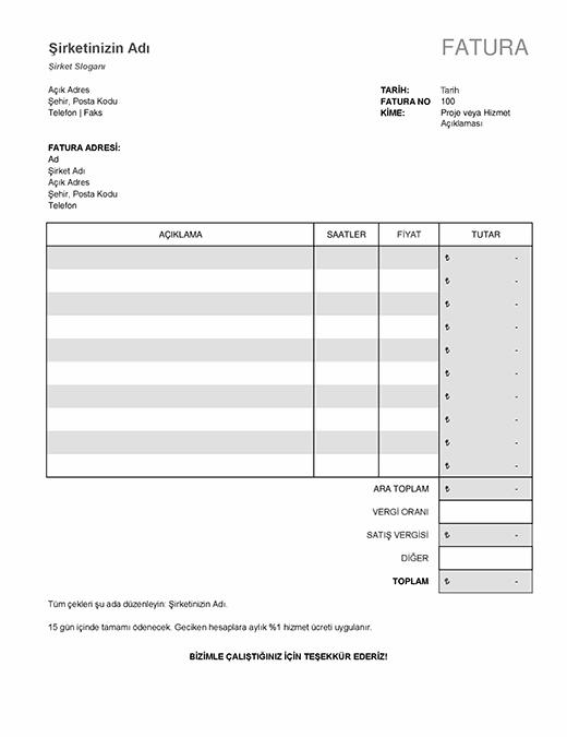 Vergi hesaplamalarının bulunduğu hizmet faturası