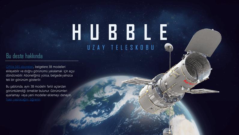 3B PowerPoint sunusu (Hubble Teleskobu modeli)