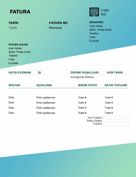 Hizmet faturası (Yeşil Ton Geçişli tasarım)