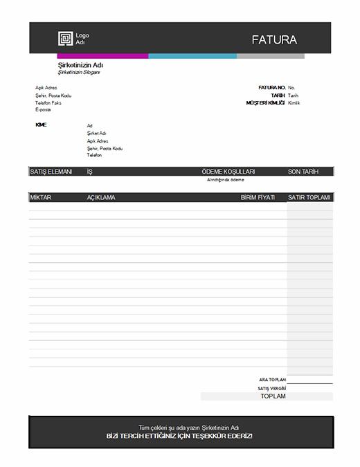Hizmet faturası (Mavi Gradyan tasarım)
