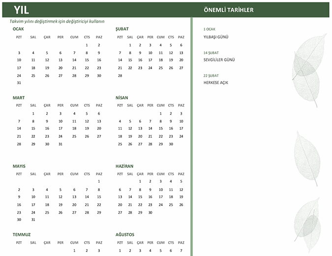 İş takvimi (yıllık, Pzt-Paz)