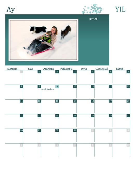 Mevsimlik aile takvimi (herhangi bir yıl, Pzt-Paz)