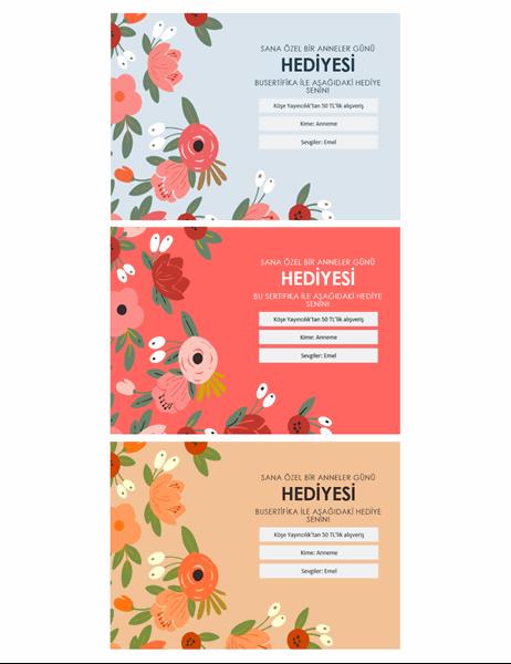 Zarif çiçekli Anneler Günü hediye sertifikaları