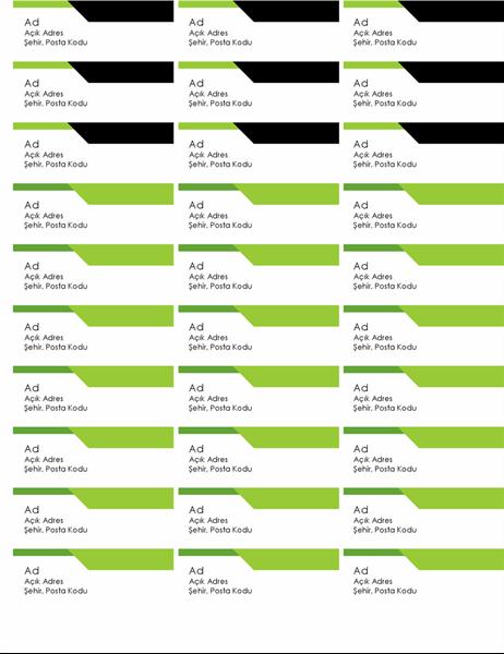 Kalın logolu adres etiketleri (sayfa başına 30)